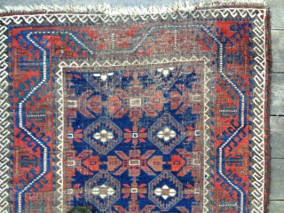 "Iconic Mina Khani Baluch, ca 3rd Qtr 19thC. All organic saturated colors including light and dark blues. Prominent ""Turkman Line"" border design. Size: 58X36in./147X91cm. Areas of oxidation and wear. Buyer pays shipping.  ..."