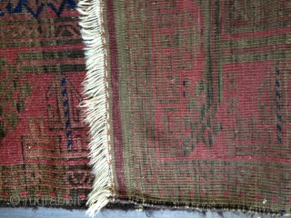 Antique Baluch rug from the 19th Century. All natural colors dominated by a beautiful cochineal red. Extremely glossy silky wool and soft thin handle. Medium to low pile. Retains a good part  ...