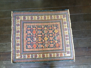 Small squarish Kuba rug, circa 1900. Good colors and nice Chichi field design.