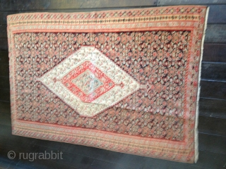 Antique classic Sennah kilim. Great colors and design. Complete and in good condition except for small areas of wear and some fabric splits. Size 76X50in/193X127cm.
