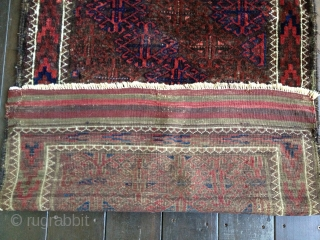 Small antique Baluch rug, p possibly Khorasan, ca 1890s. All natural dyes with glossy wool pile and fine weave. Nice diagonal design. Very good condition with a few small repairs. Retains original side  ...