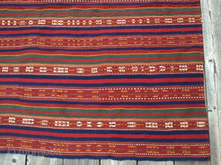 "Antique Jajim circa early 1900s. In excellent original condition with all natural dyes. Consists of 9 stripes sewn together. Probably from Azerbaijan or Northwest Persia. Size 6'X 6'3""/ 183 X 190cm. Price  ..."