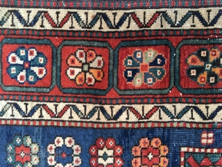 "Antique Sewan Kazak Rug. Early 20th Century, 1910-1920. Lovely all organic colors including a natural orange and nice greens and blues. Original side cords and ends. Size 88""X 45""/223 X 114cm. Good  ..."