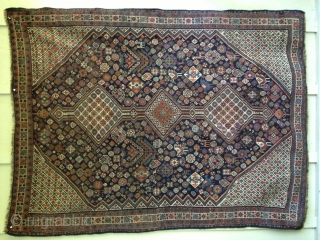 Antique Qashqai rug circa late 19thC. Soft, thin floppy handle. All natural dyes with a great variety of colors including light blue on an indigo field. Birds, chickens and a variety of  ...