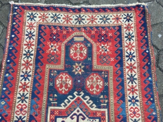 Antique Caucasian Fachralo prayer rug, age: 19th century. Size: 182x115cm / 6ft x 3'8''ft , some spots of wear, still a very nice rug.