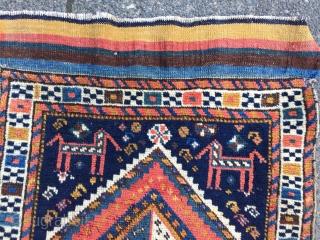 Antique Luri bagface with rainbow kilim, size: 55x50cm / 1'8'' x 1'6''ft