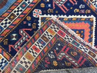 Antique Luri bagface with rainbow kilim, size: 55x50cm / 1'8'' x 1'6''ft