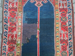 Antique Kurdish runner from Northwest-Persia, wool on wool foundation. Very decorative, size: ca. 525x102cm / 17'3''ft x 3'3''ft , old repair at one end (see pictures).
