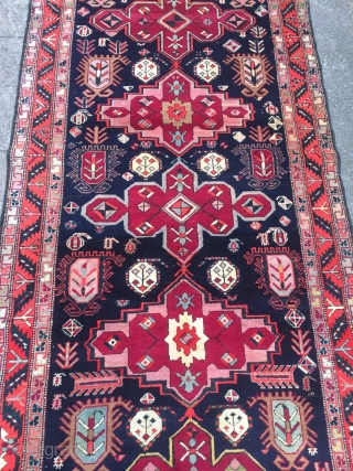 Antique Caucasian Karabagh runner, good condition, size: ca. 370x115cm / 12'2''ft x 3'8''ft