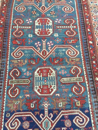 Large antique Caucasian Perepedil Shirvan rug, size: ca. 285x145cm / 9'4''ft x 4'8''ft , some condition problems but still very nice.
