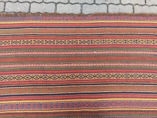 Antique Central-Asian Uzbek or Kirghiz Jajim / flatweave with beautiful colors, size: ca. 165x145cm / 5'4''ft x 4'8''ft