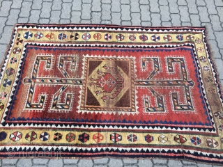 Antique Qashqai Gabbeh rug from Southpersia with happy colors and a beautiful primitive design. This rug came out of an old estate here in Northern-Germany. As found condition: Some wear but still  ...