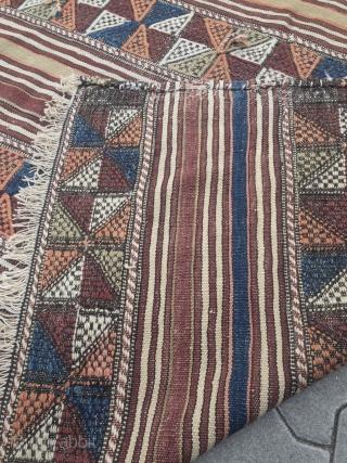 Antique Anatolian Kilim / flatweave, size: 210x137cm / 7ft x 4'5''ft
