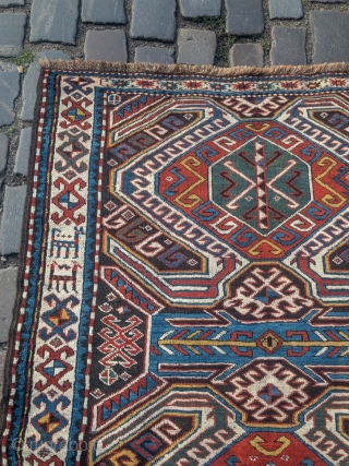Antique Caucasian Lenkoran rug, size: 275x125cm / 9ft x 4'1''ft, Akstafa border design, lovely details like animals in the border and the bottom. Nice collector´s piece.