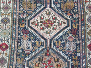 Antique Shekarlu Qashqai tribal rug from Southwest-Persia with lots of birds and animals, age: circa 1900. size: ca. 235x135cm / 7'7''ft x 4'4''ft www.najib.de