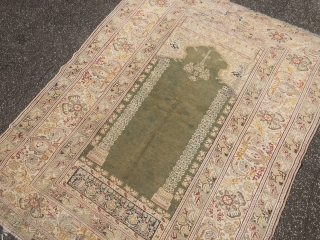 Fine antique Turkish Panderma prayer rug, beautiful mint green field color. Size: 165x125cm / 5'4''ft x 4'1''ft