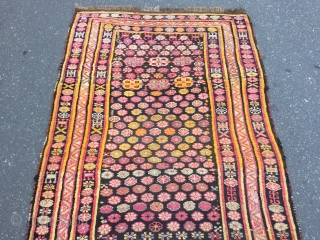 Colorful and funky antique Caucasian Karabagh (Zakatala?) long rug, age: circa 1900. Size: ca 360x133cm / 11'9''ft x 4'4''ft