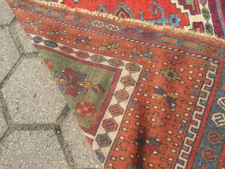 Antique East-Anatolian Yoruk Kurdish rug with archaic design and beautiful colors, age: early 19th century. Size: 192x137cm / 6'3''ft x 4'5''ft Due to its high age this rug has some damage but  ...