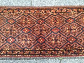 Antique Turkmen Ersari jollar with beautiful drawing, all natural dyes. Size: ca. 125x45cm / 4'1''ft x 1'4''ft
