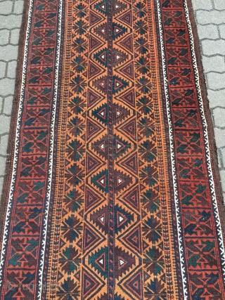Beautiful antique Baluch runner, size: ca 370x93cm / 12'2'' x 3ft