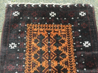 Antique Baluch Balisht with an animal caravan at the top. Very good quality with great wool quality and a fine weave, good condition . Spots of petrol blue/ green , finely drawn  ...