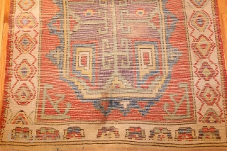 "Small Rare and Collectible Antique Turkish Konya Rug 48875, Size: 3'8"" x 4'4"", Country of Origin / Rug Type: Turkish Rugs, Circa Date: 1800 - This bright antique Turkish rug with a geometric  ..."