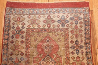 "Antique Bergama Rug 44443, Size; 3' x 4'6"", Origin: Turkey, Circa: 18th Century - Here is an exciting and dynamic antique Oriental rug - an antique Bergama rug that was woven in Turkey  ..."