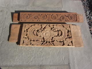 Northern Thailand : Five wooden panels taken from ox-drawn farming carts. Some with residual paint