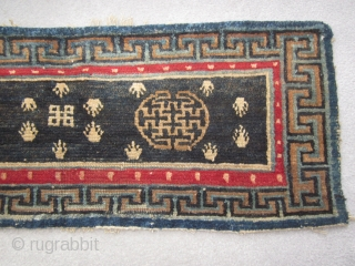 Tibetan, table top mat with frogs feet, some repair , bottom edge c.1920