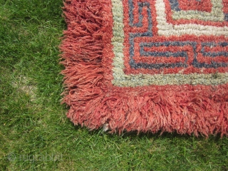 Tibetan wangden, ecclesiastical prayer and meditation rug, excellent condition, before 1900, about 36 by 36 inches.