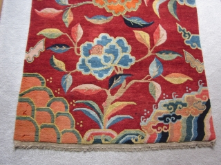 "Tibetan Khaden, sitting and sleeping rug, 3' by 5'3"",c.1920-30. Dynamic tree of life motif, and lively display of lotuses, all emerging from the sacred mountain (Meru) at the center of the World.  ..."