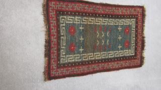 Tibetan mat, village improvisation before 1900, or earlier. Strong abrash.