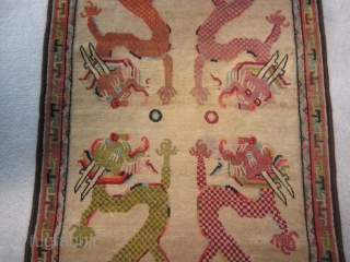 "Tibetan khaden, four picturesque dragons seeking the flaming pearl,2'9"" by 5', c.1930 $750, plus shipping"