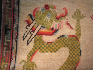 """Tibetan khaden, four picturesque dragons seeking the flaming pearl,2'9"""" by 5', c.1930 $750, plus shipping"""