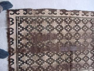 Early Tibetan khaden fragment, mounted. Powerful geometric design. Nick Wright, East of the Bosphorus