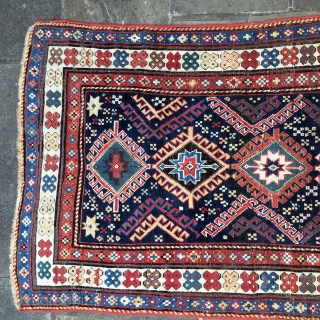 KAzak Shulaver, low pile, original ends, borders redone many years ago, some repiling, late 19th Century.