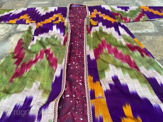 Old Uzbek ikat chapan(robe), excellent condition, circa 19 century, for more information please ask