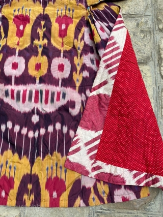 Old Uzbek, Bukhara the end of 19 century ikat(silk) chapan (robe) good condition, nice colors, for more information please ask