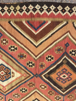 "Qashqai Kilim 58""x110"". Solid condition. All natural colors. Complete on both ends. One small professional repair."