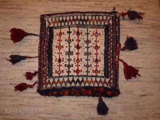 Bakhtiari chanteh, 37x36cms, cotton ground with overstitched motifs,