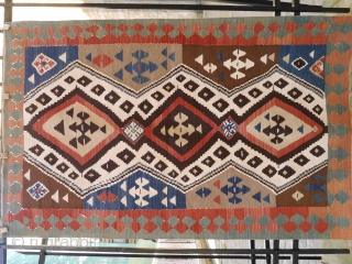 A superb Azerbaijan kilim in mint condition (only a tiny reweave, see photo), with lots of natural dyes and a great range of colours. 172x110cms (k1611075). Late gothic and early Renaisence San  ...