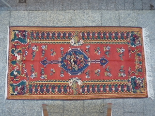 Large north-west Iranian Kurdish 'Senneh' kilim, 290x155cms, 19th century with vibrant natural tones- the colours are more madder red (warmer)in reality than what it shows in the photos-, all original and intact  ...