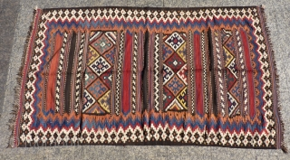 Bakhtiari kilim, 256x146cms, with a wonderful range of natural colours (including yellow, lilac and ochre), a combination of excellent original condition and a sturdy double-interlock technique should ensure another hundred years of  ...