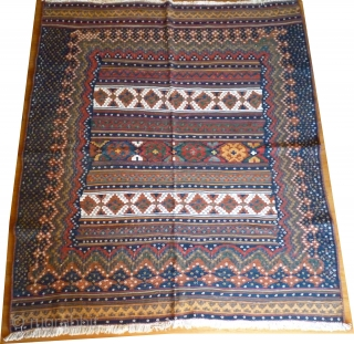 Rare small format Afsari kilim, 195x175cms, harmonious natural colours and design with repeating flower motif and extra wide border. White cotton warp and details. We find this very beautiful.