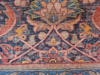 north west Iran, small antique kordi rug, short overall even pile, missing part of side and end borders, otherwise nice design and colours, 107x70cms, 3ft6in by 2ft3in