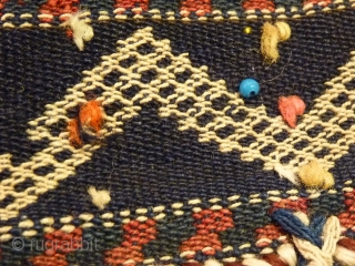Qashqai nomads, horse chest decoration band, 95x9cms aprox. (95x65cms aprox. including tassles), fine tightly spun wool, excellent original condition from first half 20th c.