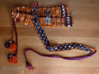 Qashqai horse or camel trapping. Not very old but complete, clean and rarely seen without being opened out. Main part 80cms (unfolded 160cms).