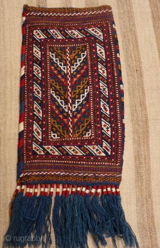 Afshar spindle bag, in perfect condition, as the day it came out of the loom, including the long tassels. Very graphic backside. Wool with white cotton highlights , thick and sturdy. 56x33  ...