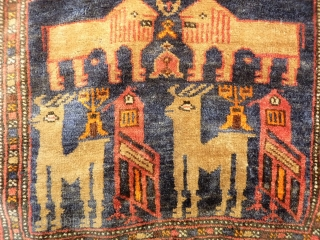 Pair of Belouch Lion bags with two dears (or goats) and two birds. Finelly woven with lost of details. 55x46 and 55x46 cms