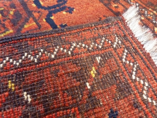 Turkoman Sarooq, Murichaq, W. Afghanistan. A glowing little prayer rug with a nice terracota hue, brightened up by mustard touches. Two large güls fill the central field. Nice wool and in very  ...